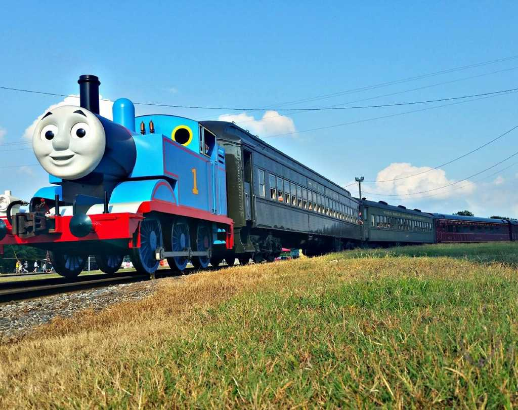 Thomas the Tank on the train tracks