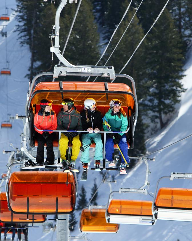 Skiers on Orange Bubble