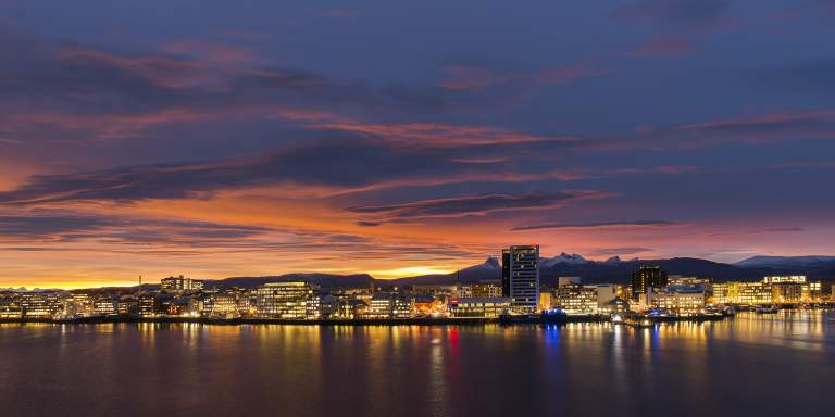 Bodø Skyline In The Midnight Sun Seen From Sea