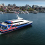 Victoria Clipper ferry arriving in Victoria's picturesque Inner Harbour