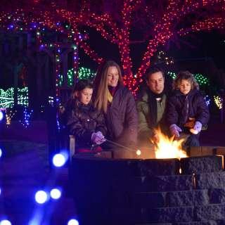 Family Making Smores at Winter Lights