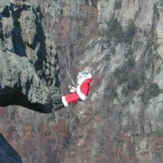 Santa Climbs Chimney Rock on Dec. 5 and 12