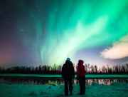 The northern lights add vibrant color to winter nights near Anchorage