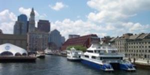 Boats docked at Boston Harbor