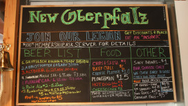 New Oberfalz Griffith Brewery Menu Board