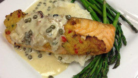 Latitudes Restaurant Portage Crab Stuffed Salmon