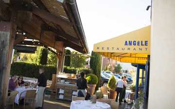 Outdoor tables at Angele Restaurant