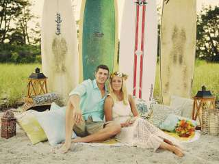 Surfer boho beach wedding