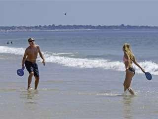 Paddleball on the beach