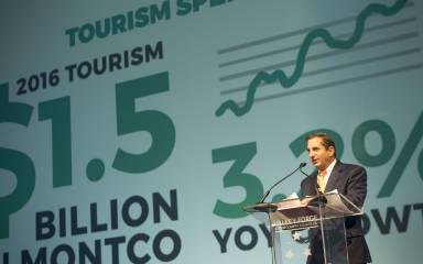 Board Chairman Rick Odoriso Presents the Economic Impact of Tourism for Montgomery County at the Valley Forge Tourism & Convention Board's 2017 Annual Luncheon