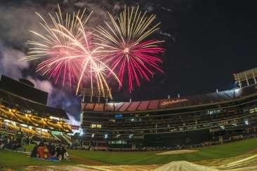 A's Coliseum Fireworks
