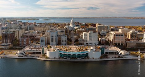 Fall aerial view of Monona Terrace and Madison, WI