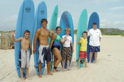 Group surf lesson on Wrightsville Beach