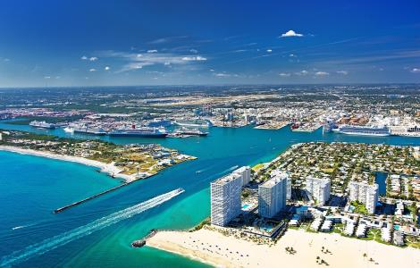 Aerial of Port Everglades entrance channel
