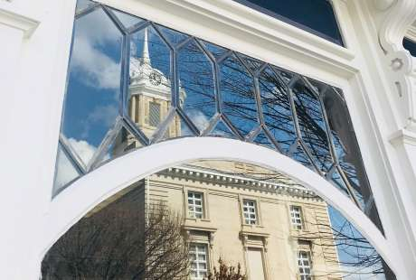 Downtown window reflection