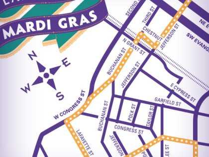 Lafayette Mardi Gras Map