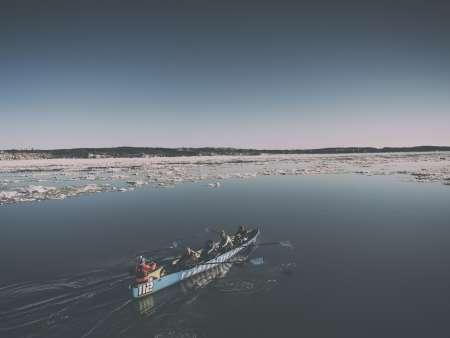 Ice Canoeing on the St. Lawrence River