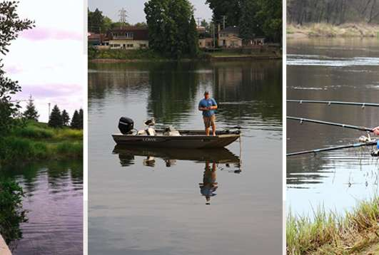 Collage of people fishing at lakes and rivers in South Shore, Indiana