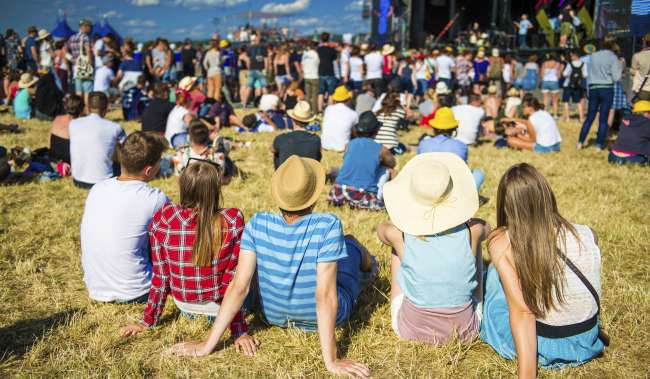 Outdoor music festival in a park