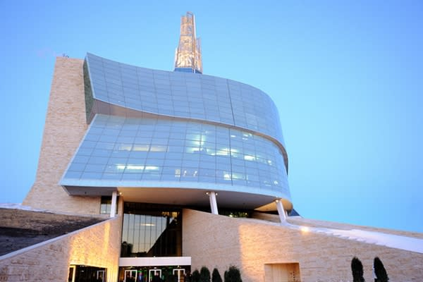 Outside view of the entrance to the CMHR