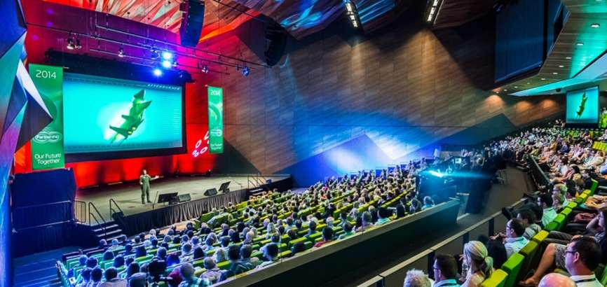 Conference at the MCEC with delegates sitting in the plenary room