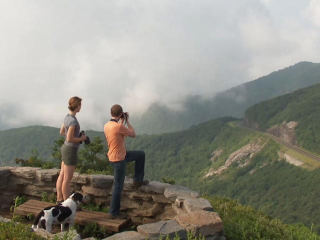 Hikers with Dog at Craggy Pinnacle