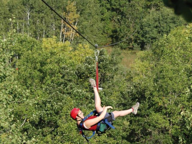 Ziplining in the Pembina Valley