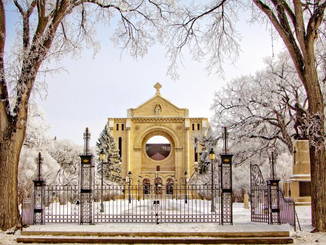 Winter at the Winnipeg  St.Boniface Cathedral