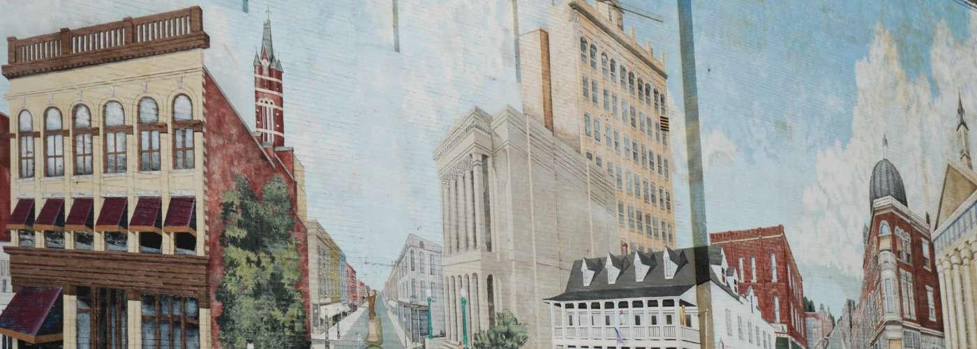Art Mural on side of Wells Fargo building of Historic Salisbury