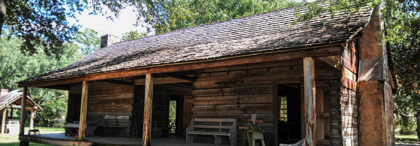 Historic plantation building at the Rural Life Museum