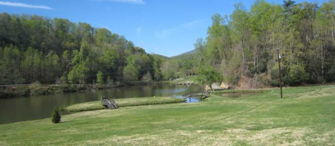 Spring view of pond at campground}