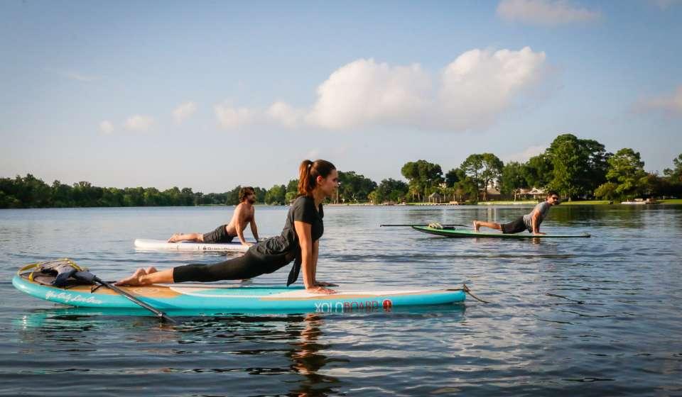 Yoga Paddleboarding Class on Bayou St. John