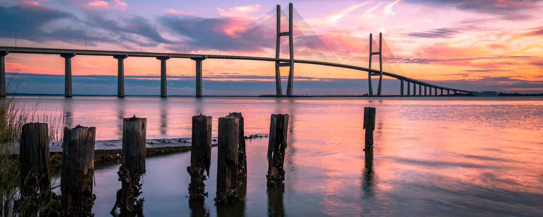 The Sidney Lanier Bridge spans gracefully across the waterway in Brunswick, Georgia
