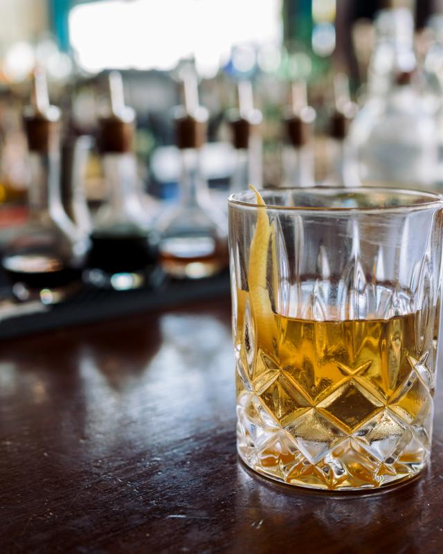 Port City Cocktail (Made with Sazerac and Peychaud's) - Toups South at the Southern Food & Beverage Museum
