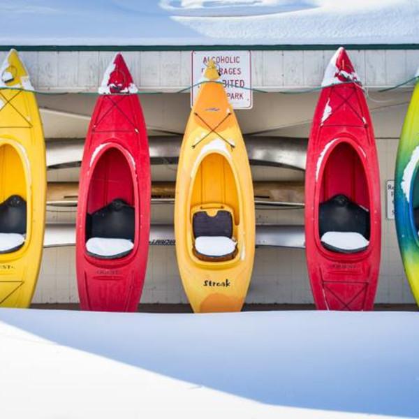 Kayaks in Winter