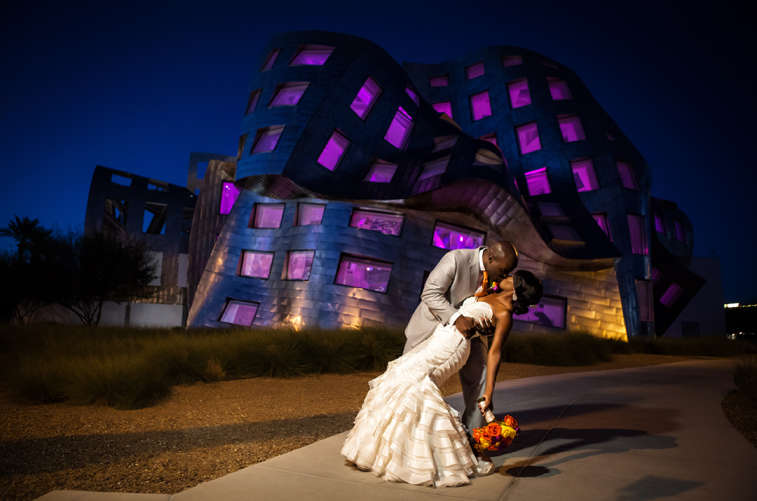 Married Couple in Front of Keep Memory Alive Event Center