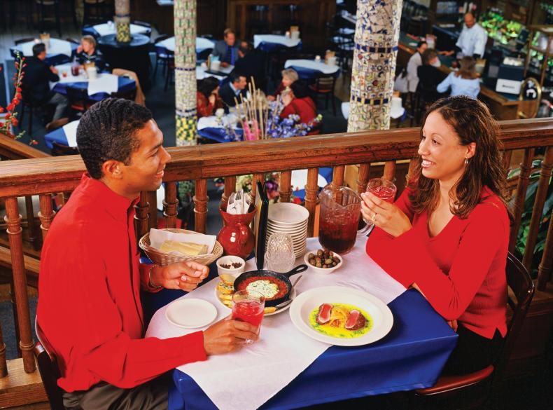 Couple dining at San Chez