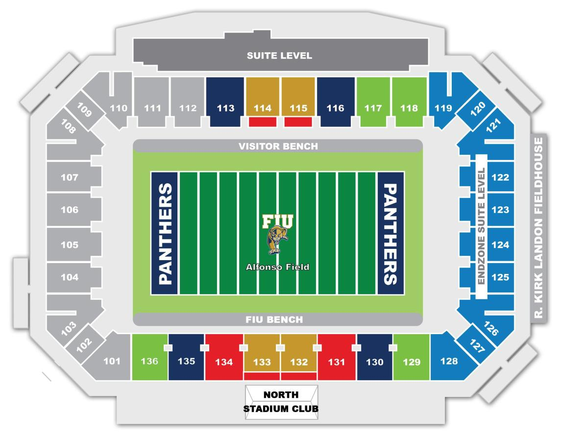 Alfonso Field at FIU Stadium Layout Diagram