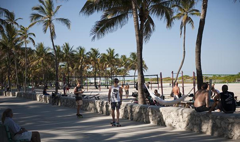 Park sidewalk and volleyball