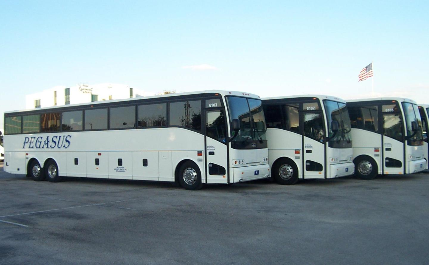 3 of the 25 motorcoach buses that form Pegasus Transportation's clean, reliable, and well-organized