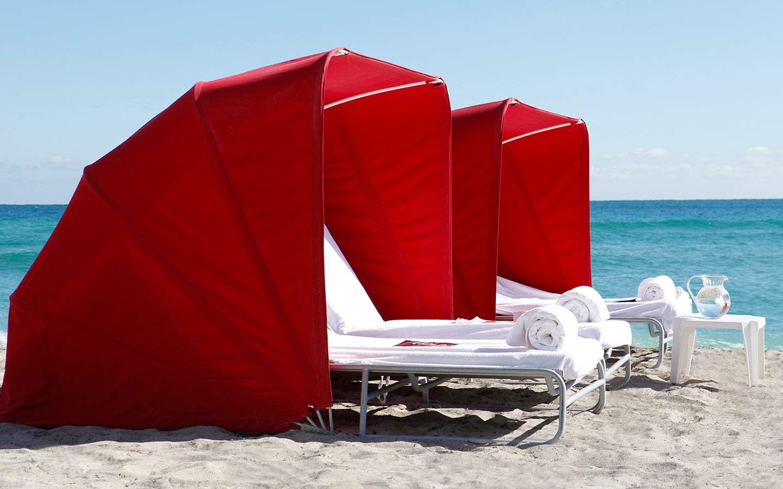 Acqualina's beautiful cabanas by the beach