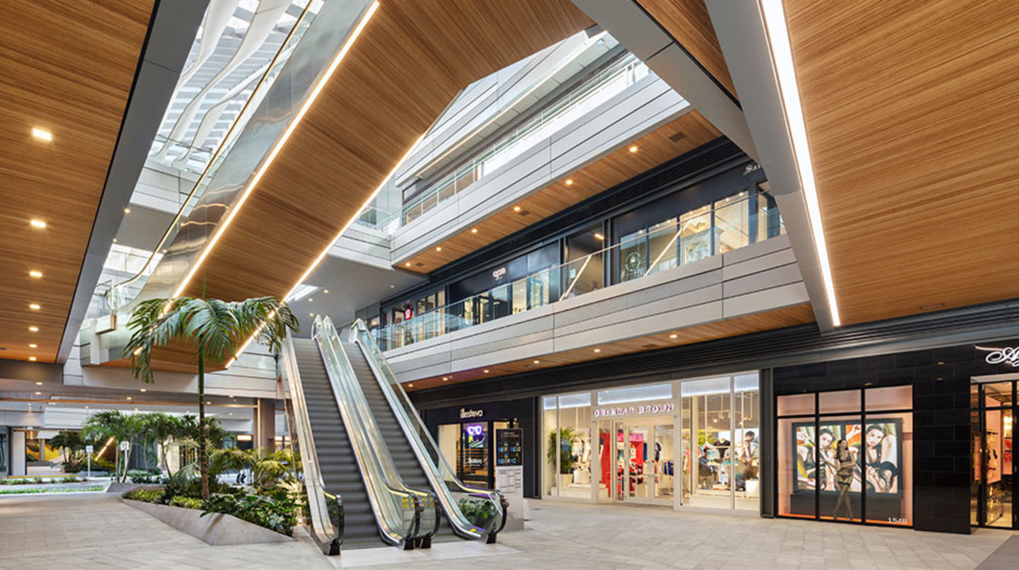 Retail stores on the bottom level of Brickell City Centre