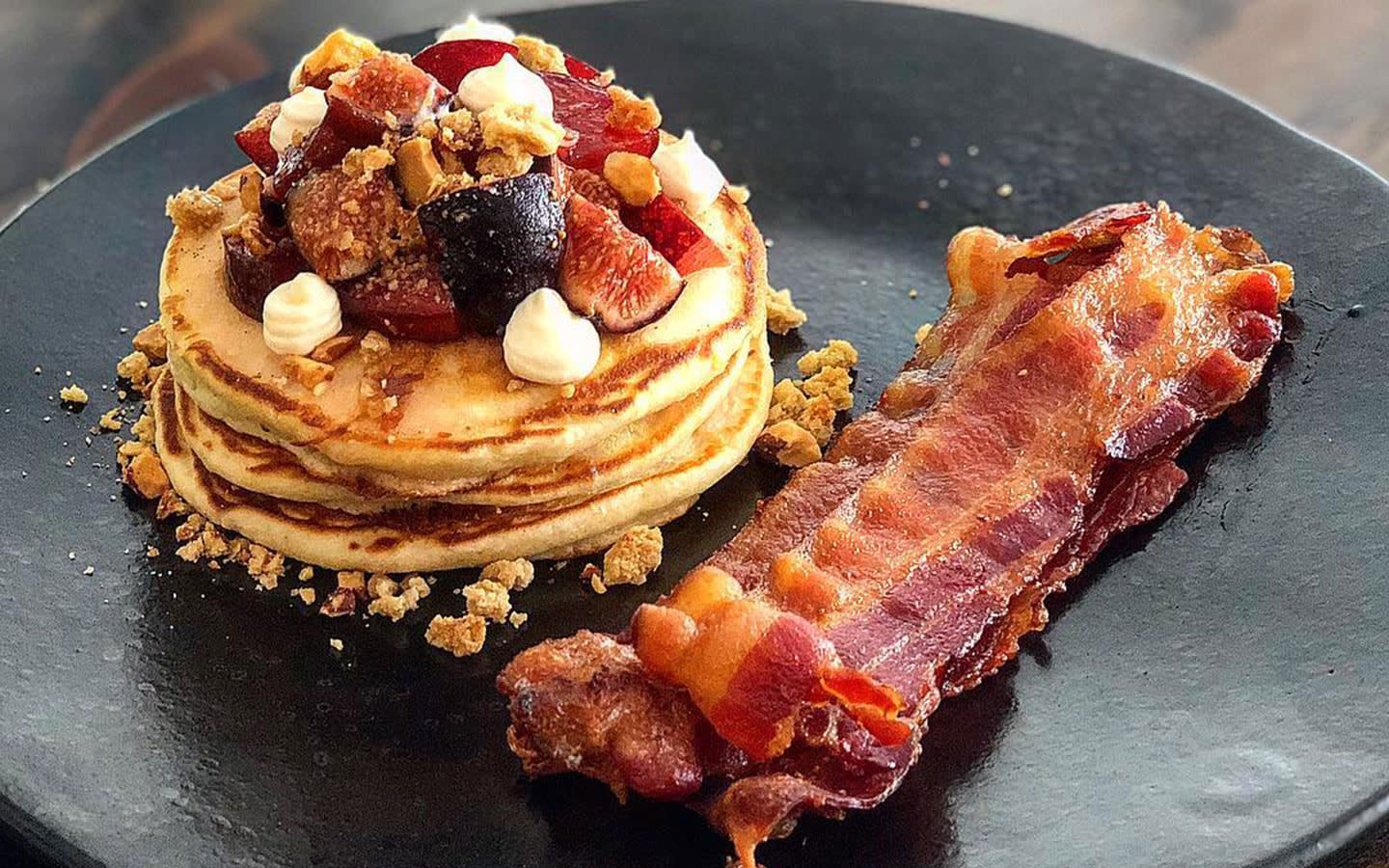 Copper Pot Bed and Breakfast pancakes and bacon