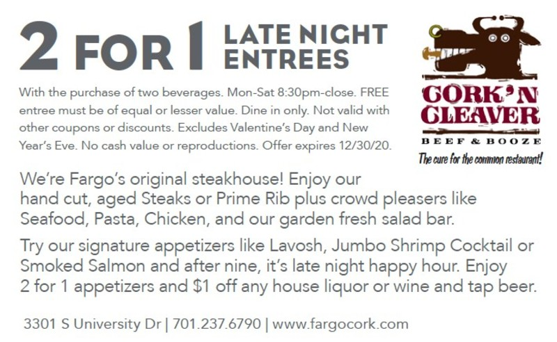 2-for-1 Late Night Entrees