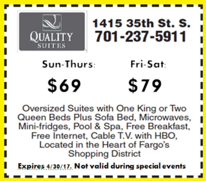$59/NIGHT SUN-THURS OR $69/NIGHT FRI-SAT AT QUALITY SUITES