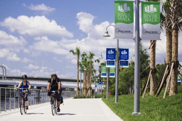 Riverwalk cyclists