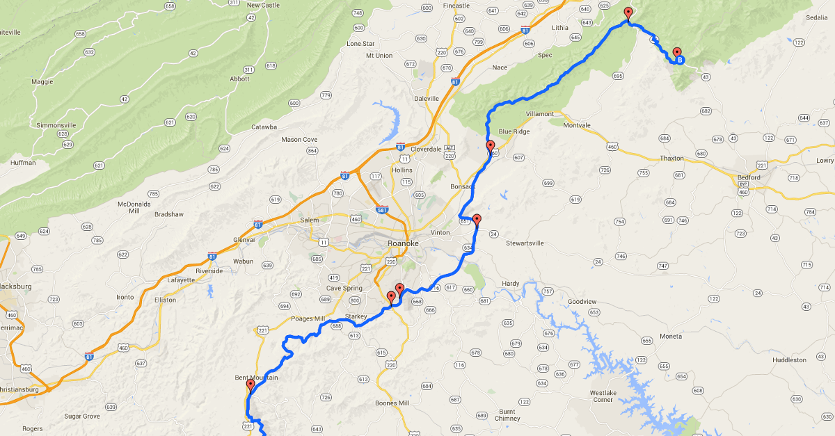 Blue Ridge Parkway Map Entry Points