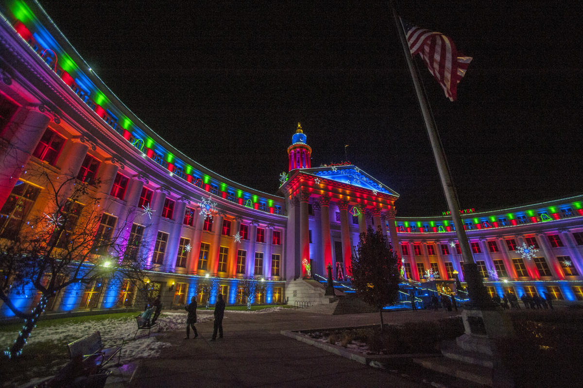 City Of Denver Building Holiday Lights