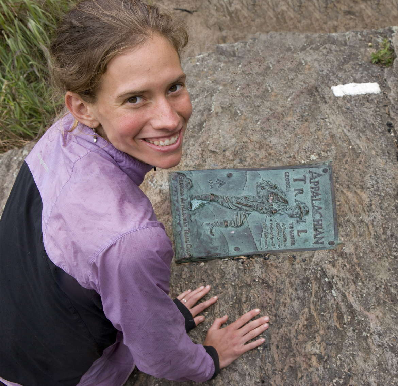 Jennifer Pharr Davis with Appalachian Trail marker