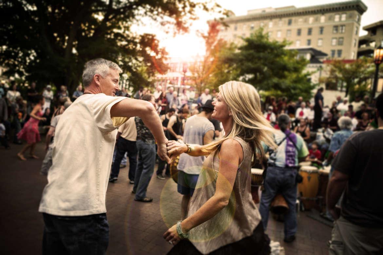 Couple Dancing at Drum Circle